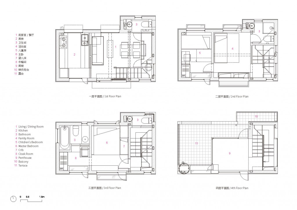 01-1-4F_一~四层平面图 1st ~ 4th Floor Plans